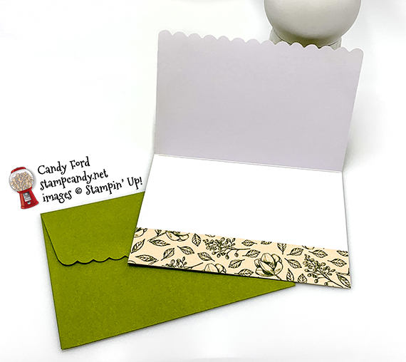 Scalloped Note Cards & Envelopes, Flourish Dies from Stampin' Up! Thank you card made by Candy Ford #stampcandy