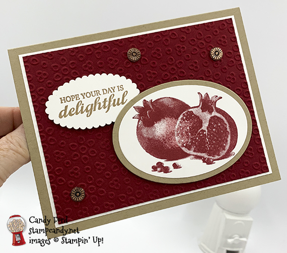Slice of Happiness stamp set, Eyelet Lace embossing folder, fron Stampin' Up! Card made by Candy Ford #stampcandy
