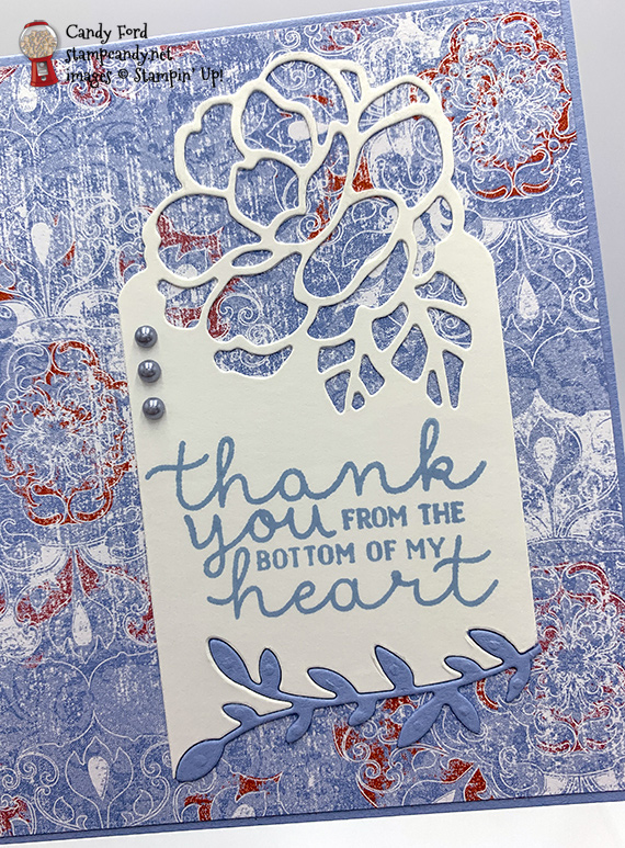 Stampin' Up! Bloom & Grow stamps, Botanical Tags dies, Woven Thread DSP handmade thank you card by Candy Ford of Stamp Candy
