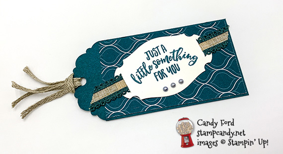 Stampin' Up! Delightful Day bundle and Story Label punch handmade tag by Candy Ford of Stamp Candy