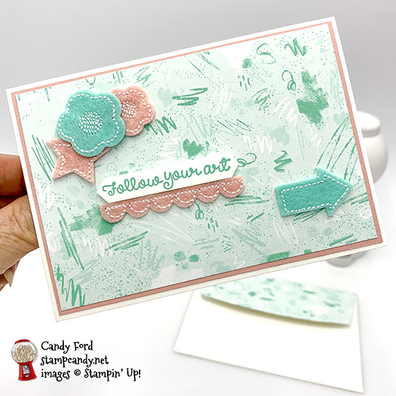 Stampin' Up! Follow Your Art stamp set & Follow Your Art Embellishment kit handmade card by Candy Ford of Stamp Candy