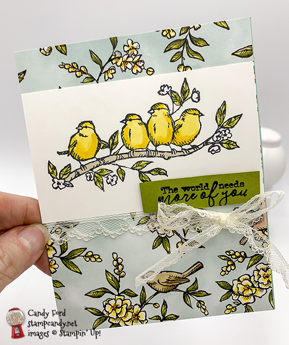 Stampin' Up! Free As A Bird stamps yellow birdies on Bird Ballad DSP handmade card by Candy Ford of Stamp Candy