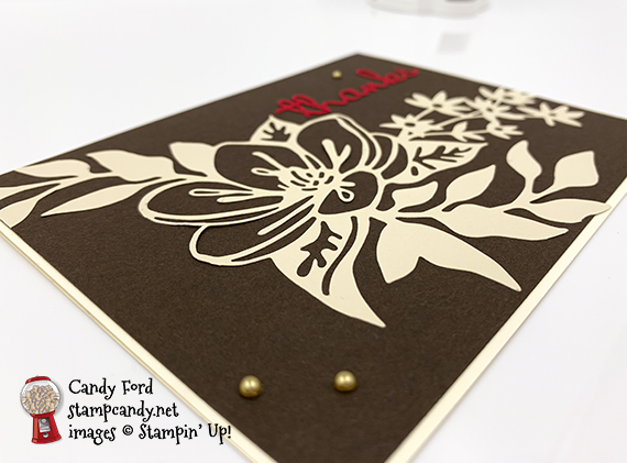 thank you card made with the Well Written Dies and Shimmer Detailed Laser-Cut Specialty Paper from Stampin' Up! #stampcandy