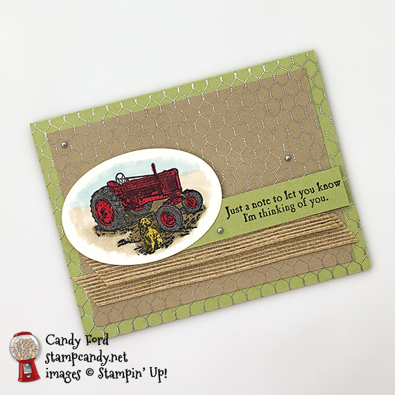 Heartland and All Wired Up stamp sets, Layering Ovals Dies, Burlap Ribbon, Stampin' Blends alcohol markers, heat embossing. Just a Note card made by Candy Ford for OSAT Blog Hop. #stampcandy