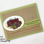 Heartland and All Wired Up stamp sets, Layering Ovals Dies, Burlap Ribbon, Stampin