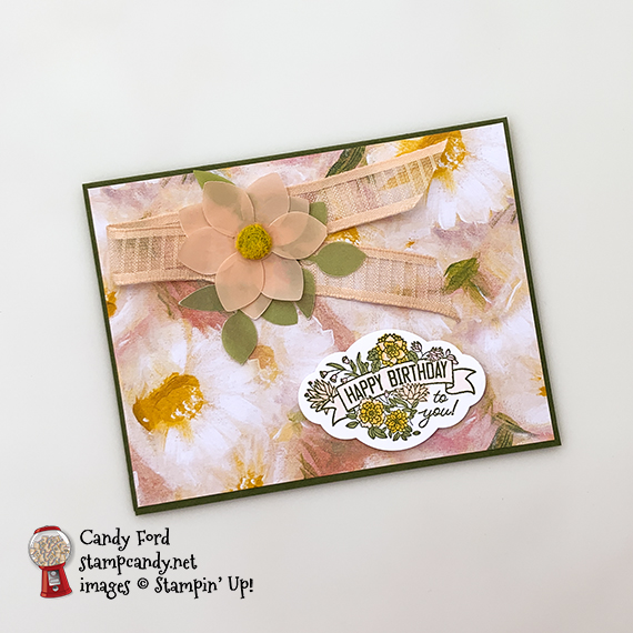 Perennial Essence suite, Label Me Pretty stamp set, Pretty Label Punch, Detailed Trio PUnch fro Stampin' Up! Card made by Candy Ford for ICS Blog Hop July 2019 #stampcandy