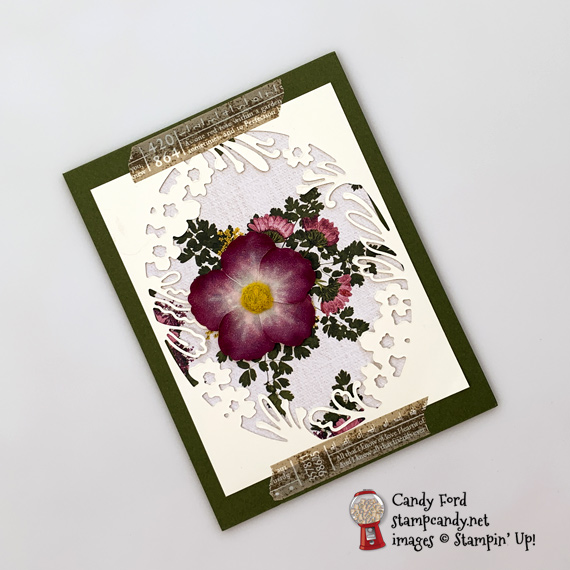 Stampin' Up! Pressed Petals DSP & washi tape with Bird Ballad Laser cut cards handmade card by Candy Ford of Stamp Candy