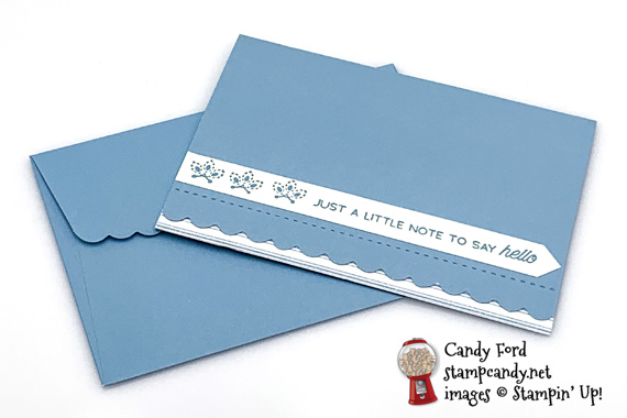 Stampin' Up! A Little Lace on scalloped notecards Just a Note to Say Hello card by Candy Ford of Stamp Candy