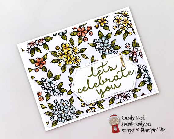 Stampin' Up! Bird Ballad DSP Nexted Lavel Dies and Bloom and Grow stamps handmade by Candy Ford of Stamp Candy