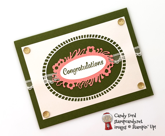 Stampin' Up! Here's a Card stamp set and Petals Labels Dies with Shimmer Detailed Laser Cut Paper card by Candy Ford of Stamp Candy