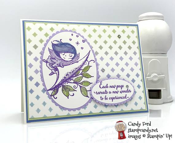 Stampin' Up! New Wonders host set with pattern party background handmade card by Candy Ford of Stamp Candy