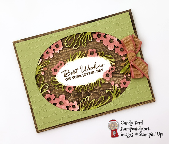 Stampin' Up! Path of Petals bundle Pressed Petals DSP and Scripty embossing folder handmade card by Candy Ford of Stamp Candy