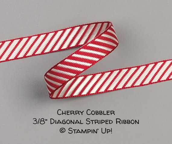 "Cherry Cobbler 3/8"" Diagonal Striped Ribbon © Stampin' Up!"