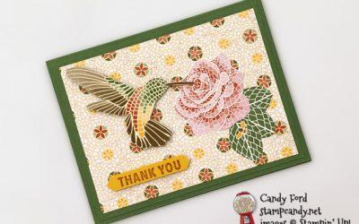 Memorable Mosaic Mood Hummingbird Thank You Card