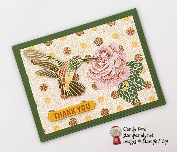 Stampin' Up! Memorable Mosaic bundle and Mosaic Mood DSP handmade hummingbird card by Candy Ford of Stamp Candy