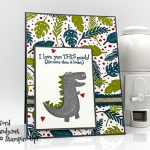 Dino Days bundle and Dioraur DSP handmade card by Candy Ford of Stamp Candy