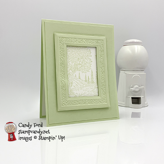 Peaceful Place stamp set and Heriloom Frames Dies %v 3D Embossing Folders from Stampin' Up! Vacation themed card made by Candy Ford for the InKing Royalty Blog Hop #stampcandy