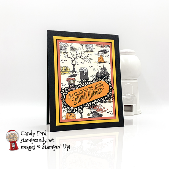 Stampin' Up! Spooktacular Bash to Every Season Ornate Frames Dies halloween card by Candy Ford of Stamp Candy
