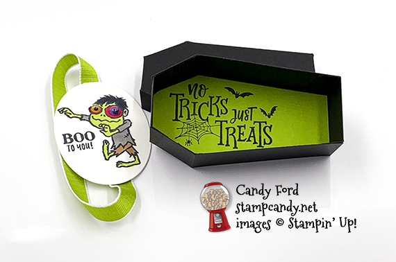 Boo to You and Everything Festive stamp sets, Coffin Boxes, Layering Ovals Dies, Granny Apple Green Ribbon, Googly Eyes, all from Stampin' Up! Made by Candy Ford #stampcandy