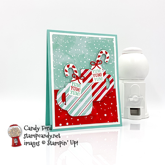 Cup of Christmas bundle yum card. Stampin' Up! Candy Ford #stampcandy