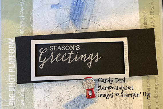 How to cut a small image with a larger die. Stampin' Up! Still Scenes Bundle (Still Scenes stamp set and Snow Globe Scenes Dies,) Snow Globe Shaker Domes, Snowflake Sequins, Season's Greetings card made by Candy Ford #stampcandy
