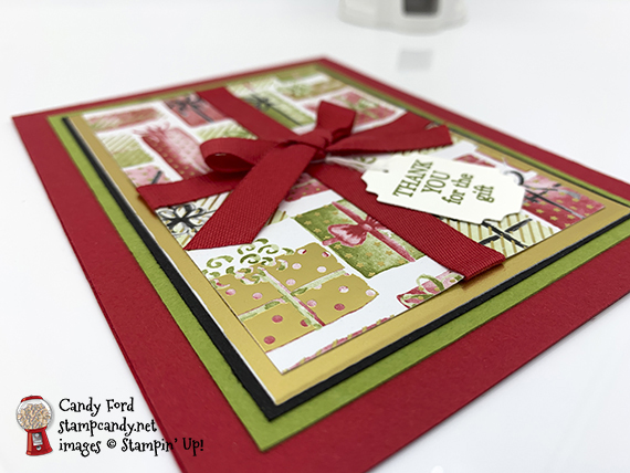 Stampin' Up! Most Wonderful Time A Big Thank You Christmas thanks card by Candy Ford #stampcandy