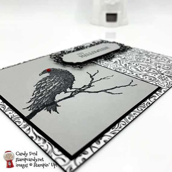 The Raven stamp set, Ornate Frames Dies, and Monster Bash paper from Stampin' Up! Happy Halloween card made by Candy Ford #stampcandy
