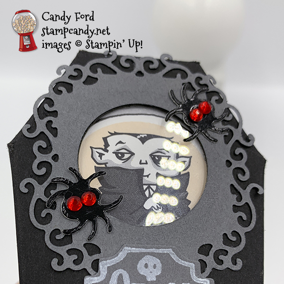 Stampin' Up! Spooktacular Bash stamp set, Monster Bash suite, Coffin Treat Box made by Candy Ford #stampcandy