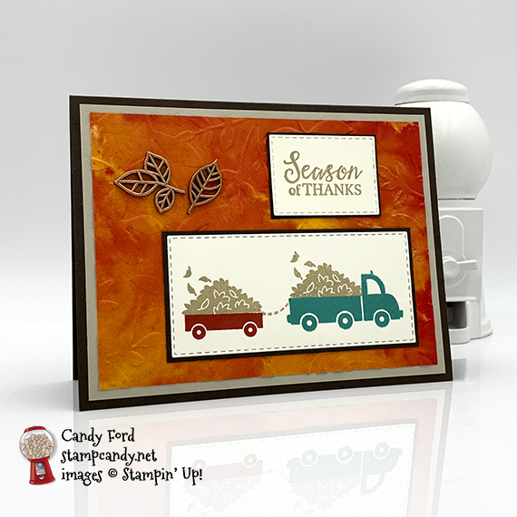 Holiday Haul stamp set by Stampin' Up! Season of Thanks card by Candy Ford of #stampcandy