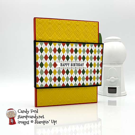 Stampin' Up! Country Club suite happy birthday mini scrapbook gift idea for golfer by Candy Ford of Stamp Candy