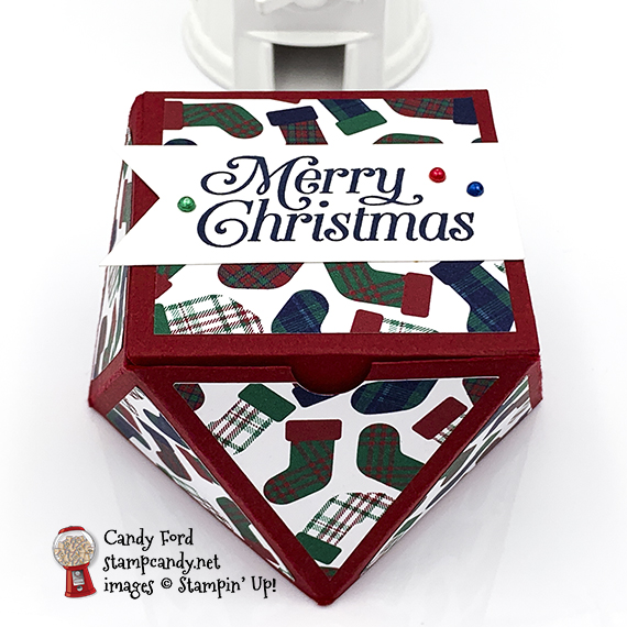 faceted treat box made using Perfectly Plaid stamp set, Wrapped in Plaid specialty designer series paper, Banner Triple Punch, Stampin' Blends Markers by Stampin' Up! Box made by Candy Ford of #stampcandy