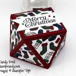 faceted treat box made using Perfectly Plaid stamp set, Wrapped in Plaid specialty designer series paper, Banner Triple Punch, Stampin