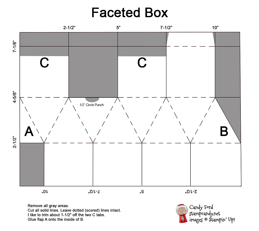 faceted box template, Candy Ford of #stampcandy