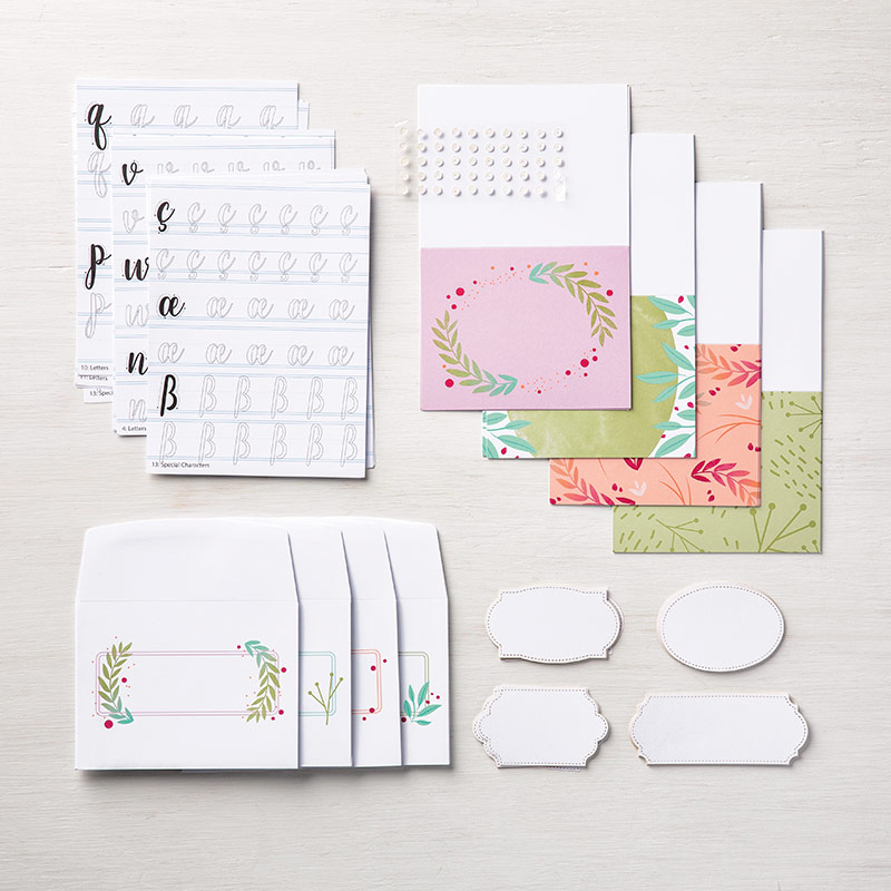 Calligraphy Essentials Project Kit by Stampin' Up! makes 16 cards. #stampcandy