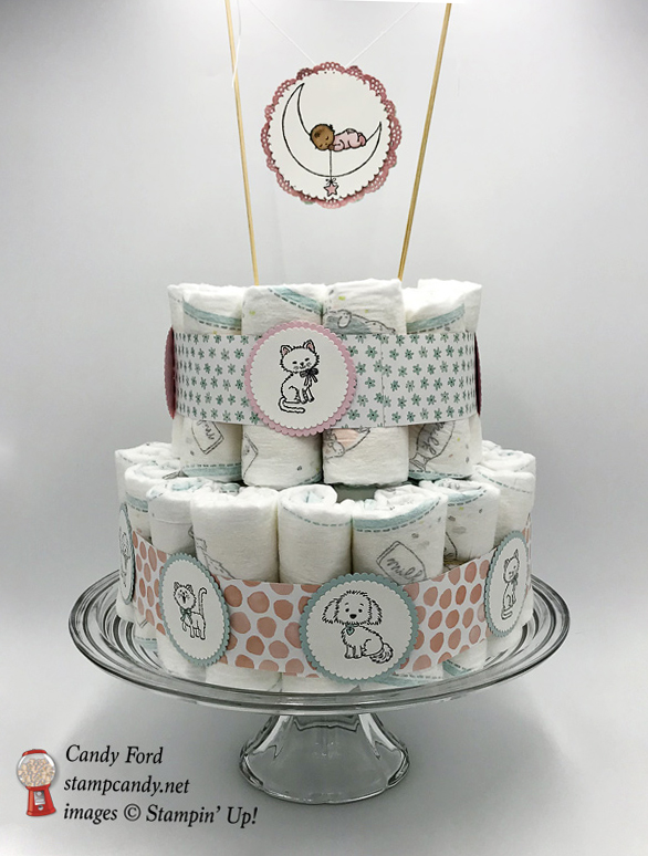 Stampin' Up! hand stamped diaper cake by Candy Ford of Stamp Candy