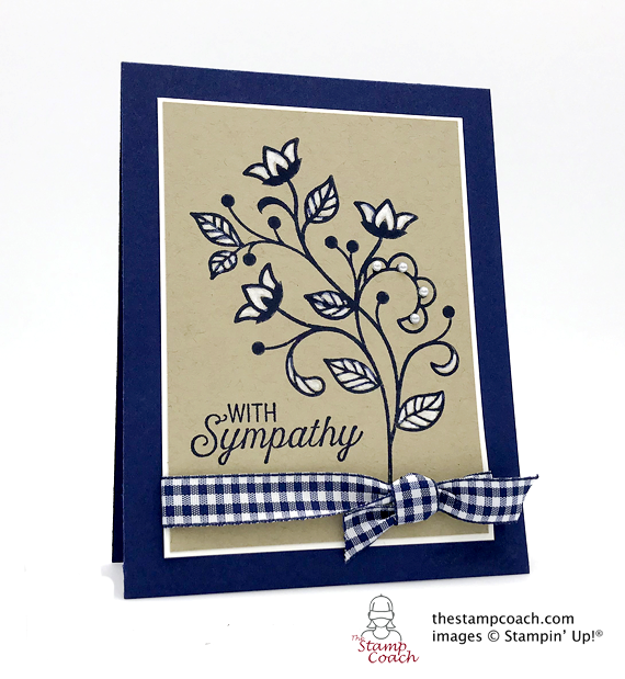 Stampin' Up! flourishing phrases handstamped sympathy card by Linda Krueger for Stamp Candy