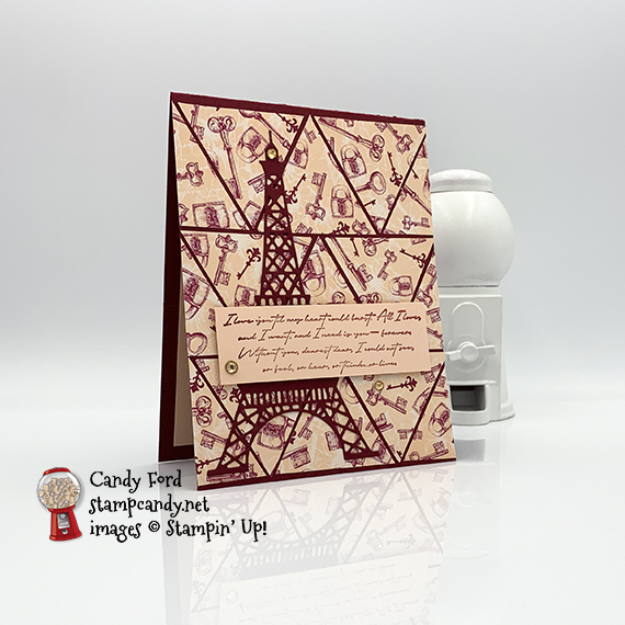 Parisian Blossoms card and faceted box for the OSAT 01-2020 Blog Hop, made by Candy Ford of #stampcandy
