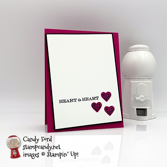 Stampin' Up! Heart to Heart stamp set card by Candy Ford #stampcandy