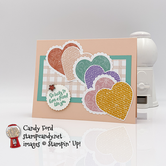 """Stampin' Up! Heartfelt stamp set, Pleased as Punch DSP, Heart Punch Pack, 1-3/8"""" Scalloped Circle Punch, Flower Faceted Gems, friend card made by Candy Ford #stampcandy"""