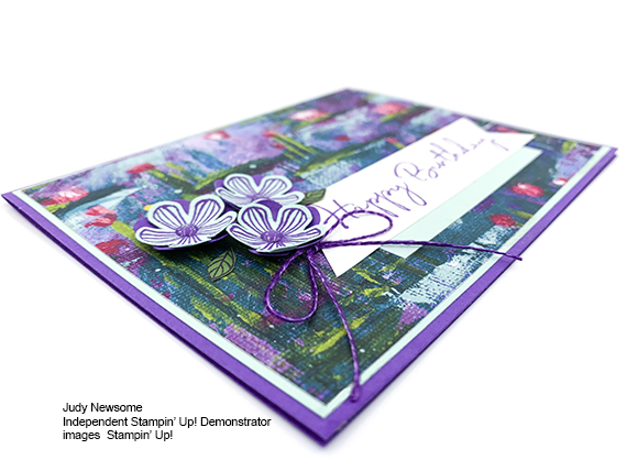 Stampin' Up! Sale-A-Bration Lily Impressions Small Blossom Punch Happy Birthday card by Judy Newsome for Stamp Candy
