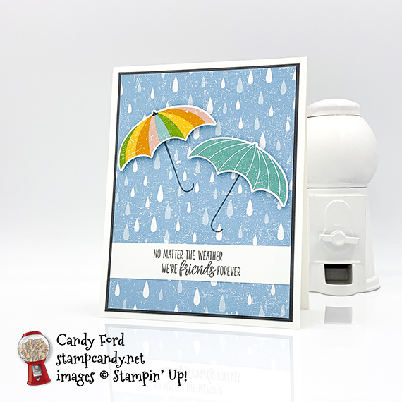 Stampin' Up! Under My Umbrella stamp set, Umbrella Builder Punch, Pleased As Punch Designer Series Paper, card made by Candy Ford #stampcandy