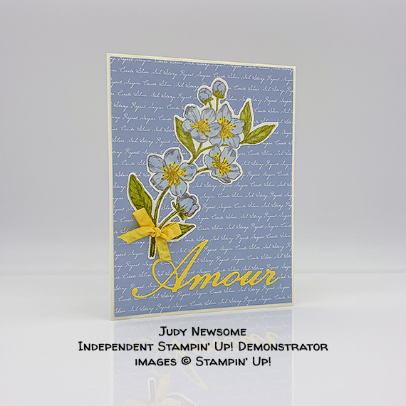 Stampin' Up! Forever Blossoms stamp set, Cherry Blossoms Dies, Parisian Labels Dies. card made by Judy Newsome #stampcandy