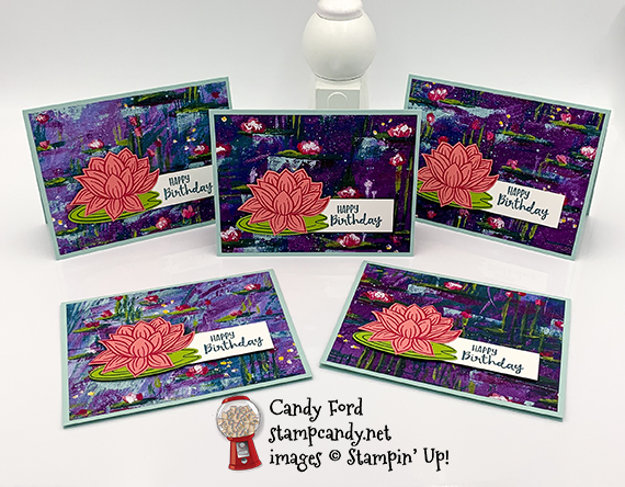 Stampin' Up! Lovely Lily Pad Lily Impressions Sale-A-Bration 2020 Birthday card by Candy Ford of Stamp Candy