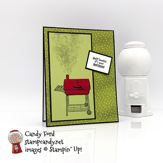 Stampin' Up! Outdoor Barbecue birthday card and treat box by Candy Ford of #stampcandy