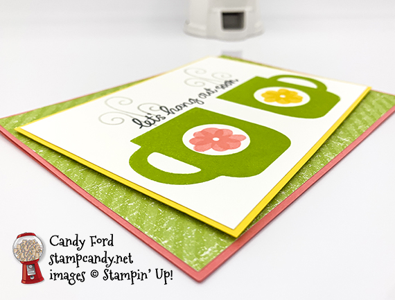 Stampin' Up! Rise & Shine stamp set, Pleased as Punch Designer Series Paper, let's hang out soon card made by Candy Ford #stampcandy