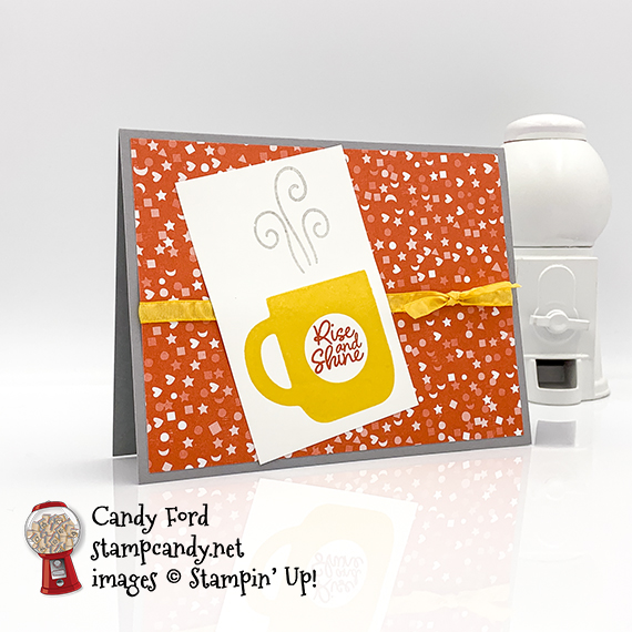 Stampin' Up! Rise & Shine stamp set, Follow Your Art Designer Series Paper, card made by Candy Ford #stampcandy