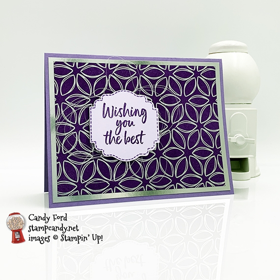 Stampin' Up! Tags In Bloom stamp set, Label Me Lovely Punch, Flowering Foils Designer Series Paper, Candy Ford #stampcandy