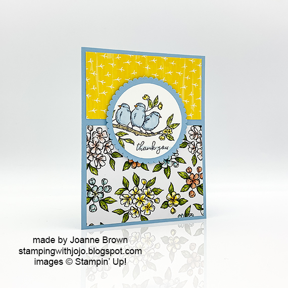 Stampin' Up! Bird Ballad thank you card made by Joanne Brown