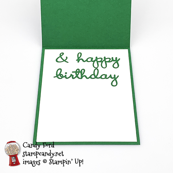 Stampin' Up! Well Written Dies, Word Wishes Dies, Heart Punch Pack, Happy St. Patrick's Day Birthday card, Candy Ford #stampcandy