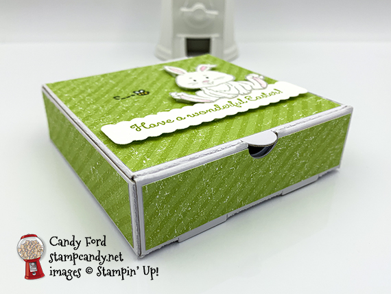 Stampin' Up! Welcome Easter stamp set, Sending Flowers Dies, Mini Pizza Box for IRBH March 2020, made by Candy Ford #stampcandy